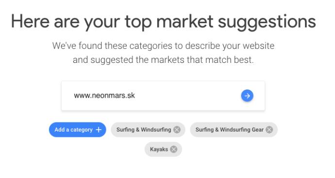 Príklad na využitie nástroja Google Market Finder